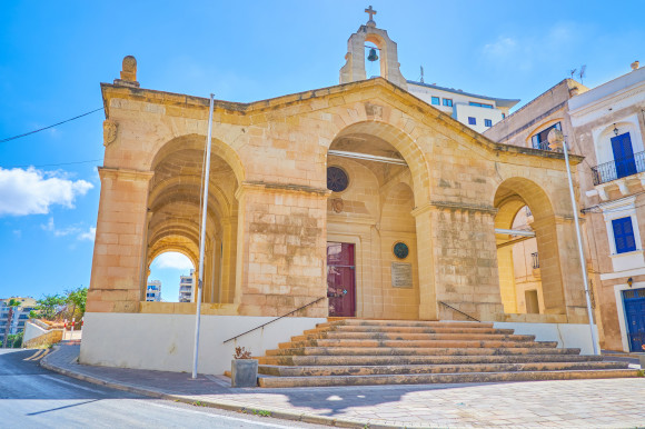 St Paul's Bay Shipwreck Church in Malta on a sunny day