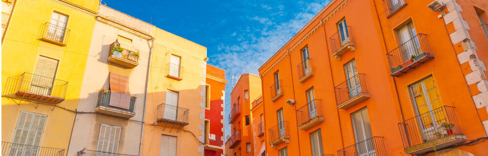 Colourful building in the town of Figueras