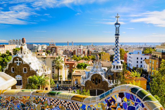 Park Guell in Barcelona overlooking Gaudi's famous architecture