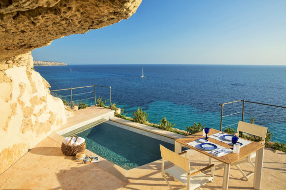 The El Cabo Suites in Cap Rocat with a private pool and terrace viewing the Med in Majorca
