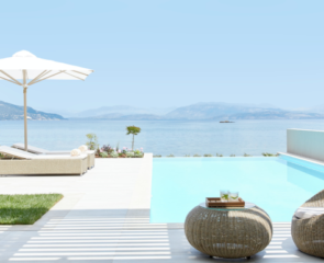Private Pool overlooking the ocean in the Ikos Dassia