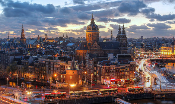 Sweeping panorama of the Dutch Capital of Amsterdam at night