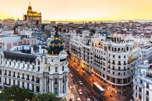 Panoramic view of Madrid's historic Gran Via