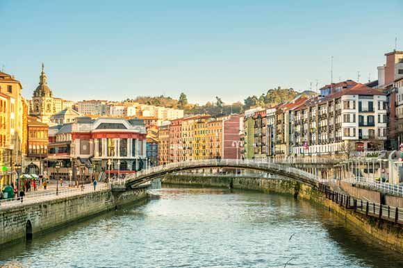 Panoramic shot of Bilbao's waterway and bridge