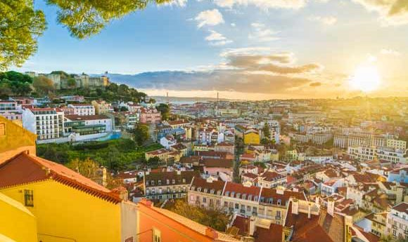 Panoramic shot of Lisbon in the early evening