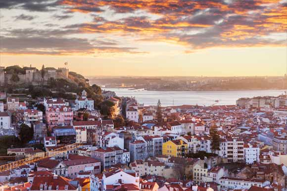 Lisbon city and Tagus River during sunset
