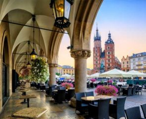 Panoramic shot of dining spot in Krakow Old Town