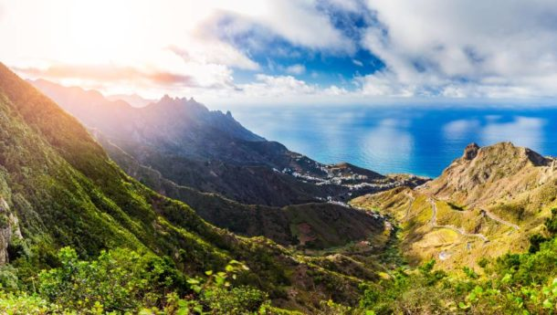 View of the mountains and ocean in Tenerife
