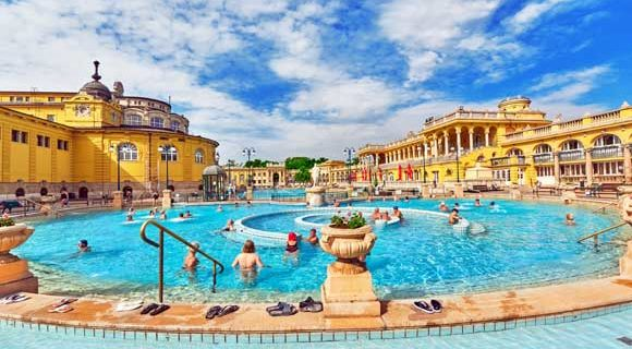 Panoramic shot of Széchenyi Thermal Baths
