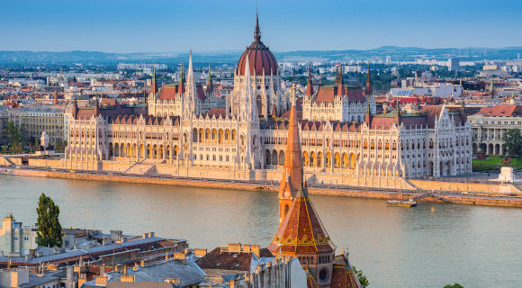 The Hungarian Parliament Building surrounded by the Danube River in Hungarian capital Budapest
