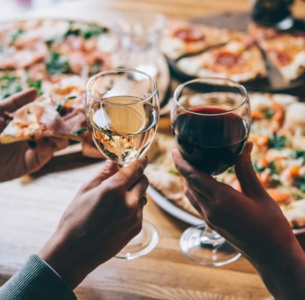 Wine and pizza in Italy