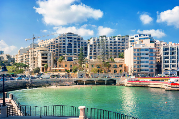 Spinola Bay waterfront views in St Julian's resort Malta