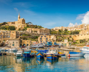 Sunny waterfront vistas of Mggar in Gozo, Malta