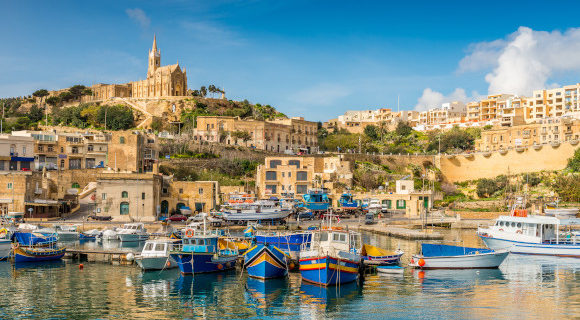 Sunny waterfront vistas of Mggar in Gozo, Malta
