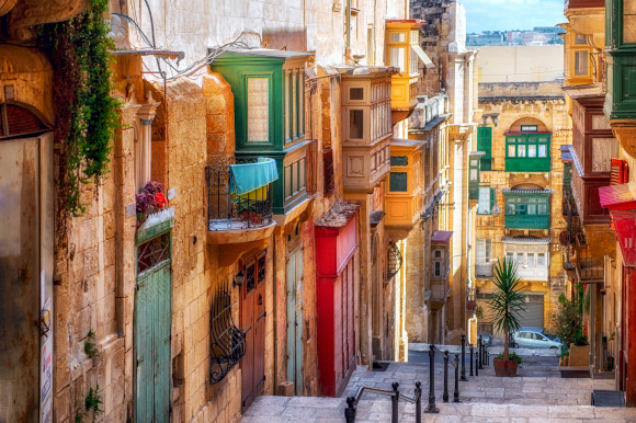 One of the medieval colourful streets in Valletta Malta's Capital