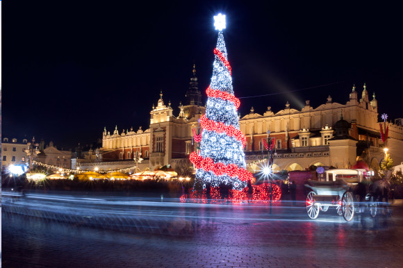 Main market square in Krakow with Christmas tree and market stalls