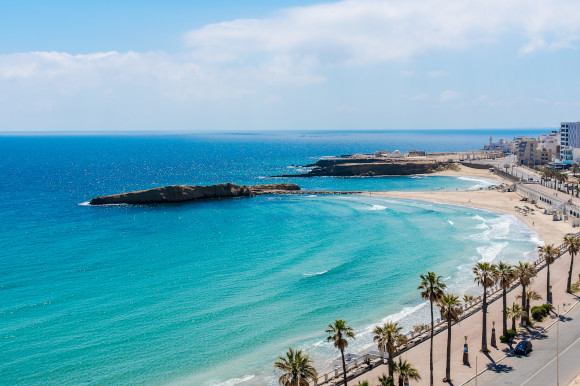 A view of Tunisia's lengthy coastline backed by palm trees