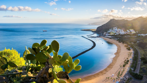 Las Teresitas beach with golden sand in Tenerife