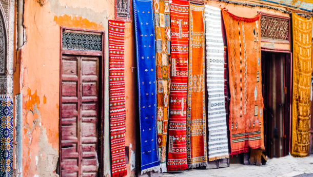 Berber carpets within the souks of Marrakech