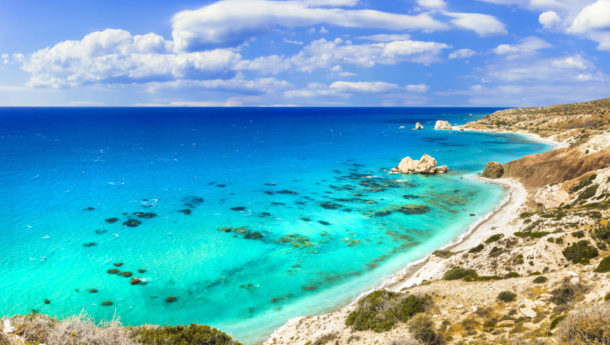 Best beaches of Cyprus island - Petra tou Romiou, famous as a birthplace of Aphrodite
