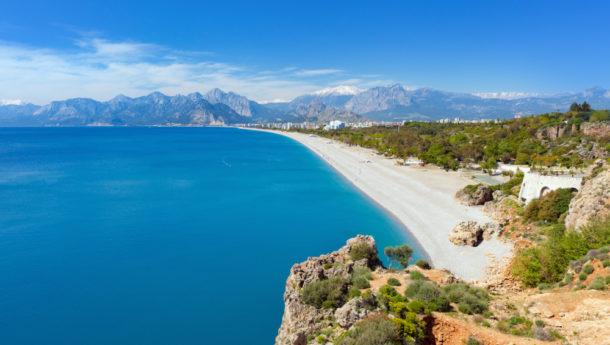 Aerial view of beautiful blue lagoon and Konyaalti beach in Antalya, Turkey