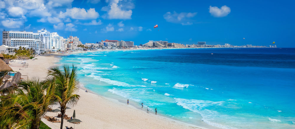 Spectacular view of the coastline at Cancun beach