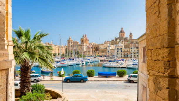 Boats docked in the marina at Senglea, Malta