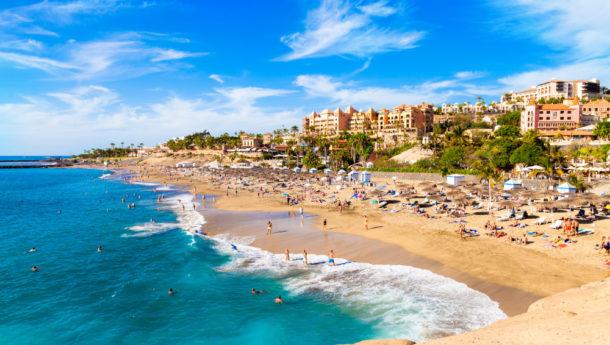 Summer holiday on El Duque beach in Tenerife, famous Adeje coast on Canary island, Spain