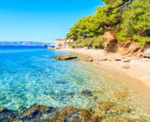 Idyllic beach on coast of Brac island near Bol town, Brac island, Croatia