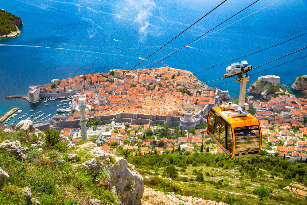 Aerial panoramic view of the old town of Dubrovnik with famous Cable Car on Srd mountain on a sunny day with blue sky and clouds in summer, Dalmatia, Croatia