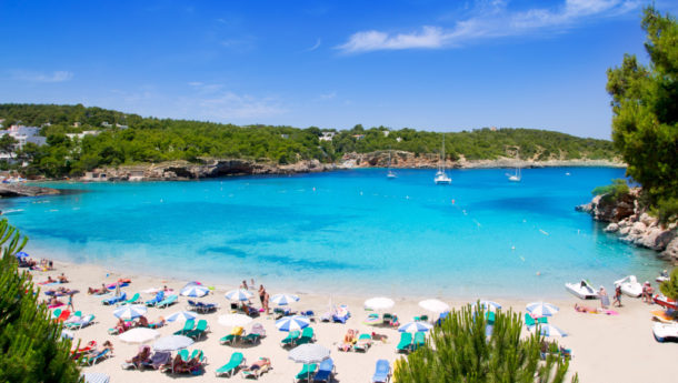 Ibiza Portinatx turquoise beach paradise in Balearic Islands