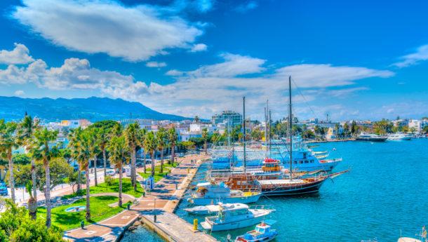 The main port of Kos island in Greece.
