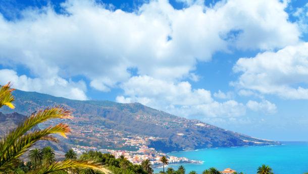Santa Cruz de La Palma in Atlantic Canary islands aerial city view