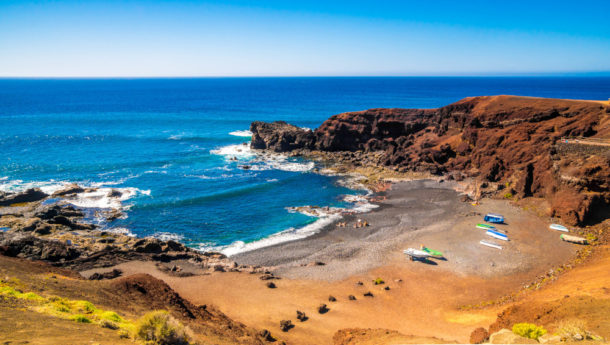 beautiful view on El Golfo Beach in Lanzarote, Canary Islands, Spain