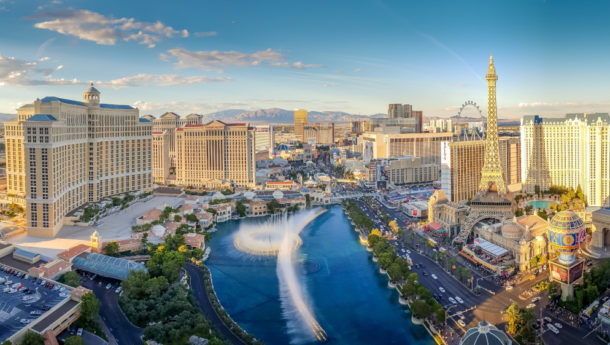 View of the Bellagio Fountains and The Strip in Las Vegas