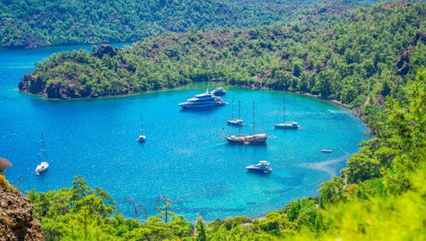 Mugla/Turkey - August 17 2018: Boats in inbuku cove