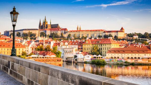Pargue, Czezh Republic. View of the Lesser Bridge Tower of Charles Bridge (Karluv Most) and Prague Castle, Bohemia.