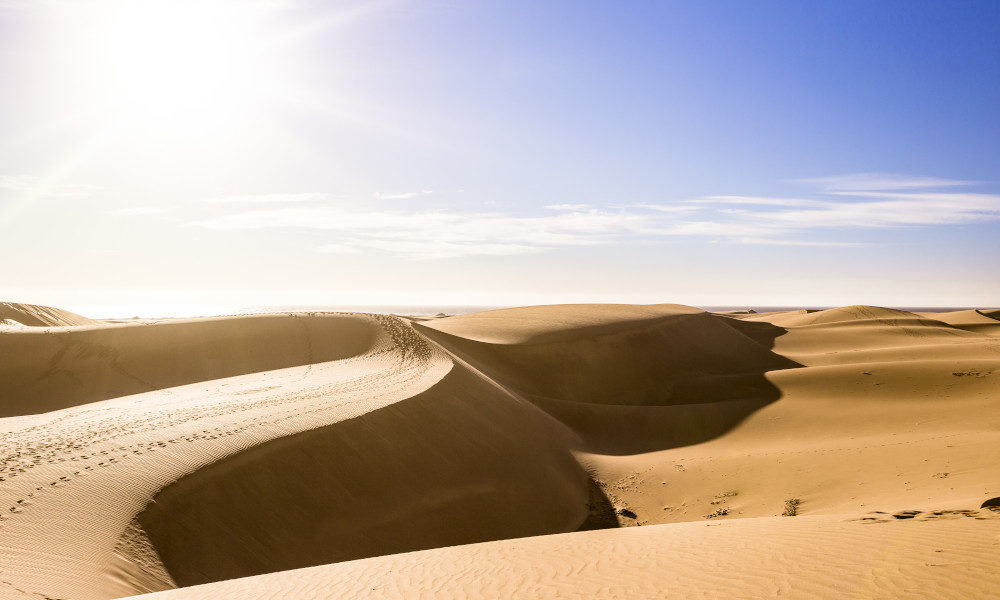 The desert-like sand dunes of Maspalomas on the island of Gran Canaria