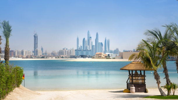 View from Jumeirah island with skyscrapers in the background
