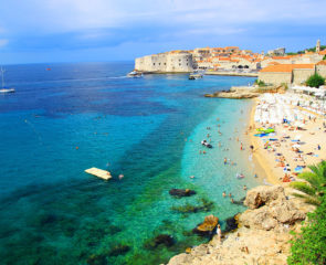 Beach of Banje and Dubrovnik City Walls