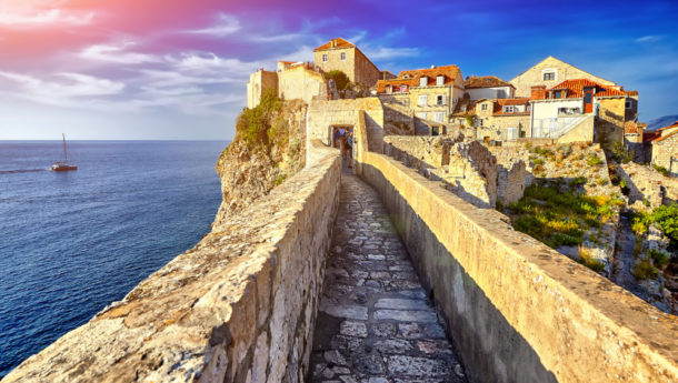 Dubrovnik City Walls at Sunset Overlooking the ocean