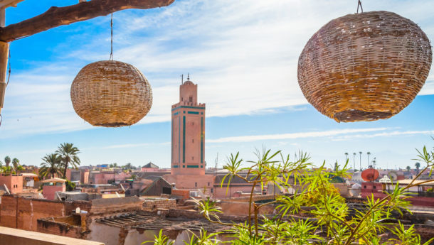 An elevated view of Marrakech from a rooftop located inside the Medina
