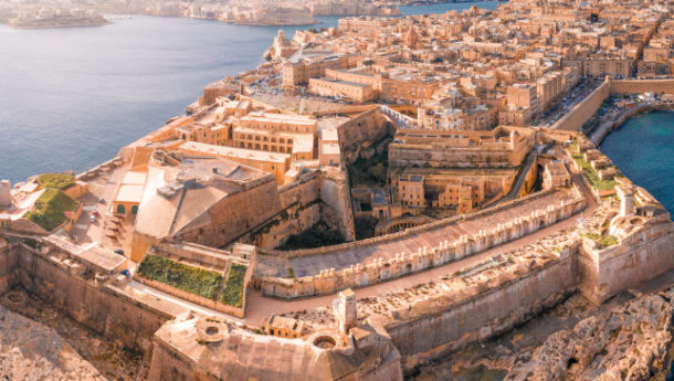 Fort St Elmo, Valletta, Malta, aerial view. Valletta is the southernmost capital of Europe