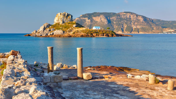 The ruins of Kefalos Beach with the sea in the background