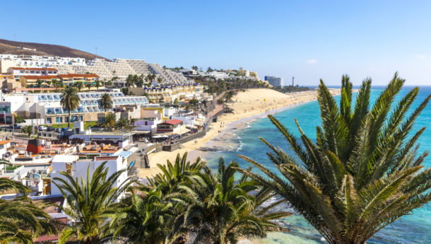 An elevated view of Morro Jable Beach with golden sands stretching for miles