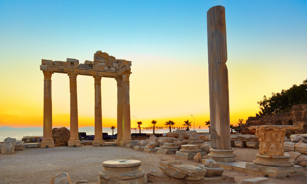 Ancient ruins of Side with a beautiful sunset in the background